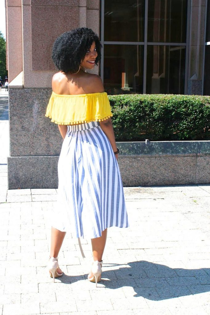 SheIn Blue and White Striped A-line High Waist Skirt, Band Waist Button Front Striped Skirt, Yellow Off The Shoulder Pom Pom Crop Top, Jord Dark Brown and Sage with Gold Accents Wood Watch