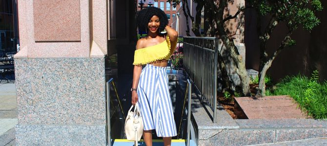 Summer Style: Yellow Off The Shoulder Pom Pom Crop Top + Blue and White SheIn A-Line Skirt