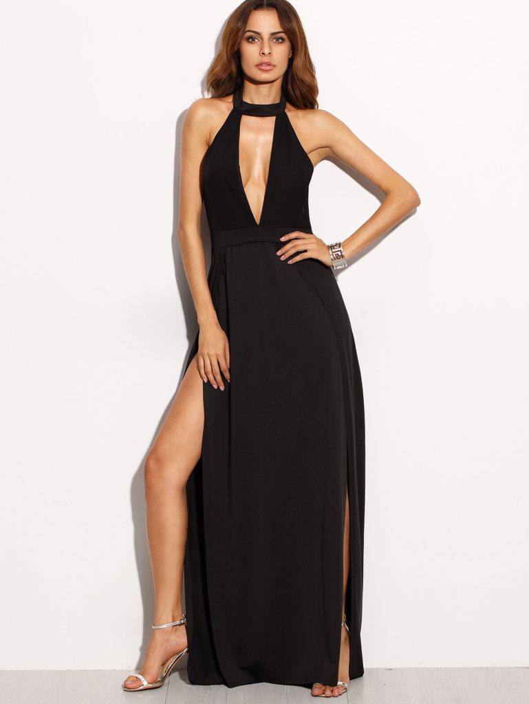 SheInDeep Plunge Neck Backless High Slit Dress