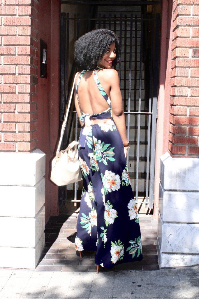 SheIn Halter Laser-cut Bow Tie Backless Slit Dress, SheInFloralMaxiDress