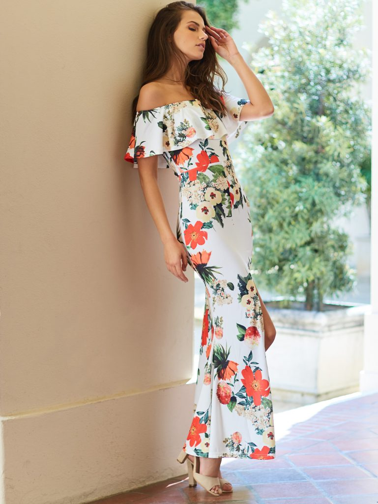 SheInFlounce Layered Neckline Florals Slit Back Fishtail Dress