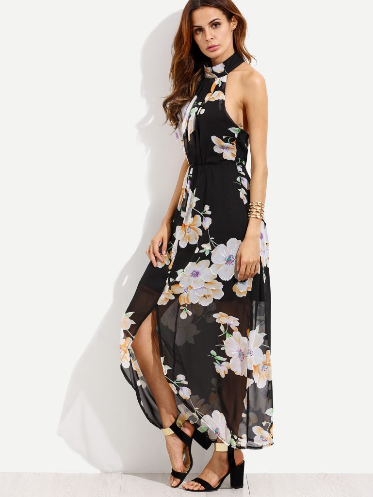 SheInFlower Print Halterneck Slit Chiffon Dress