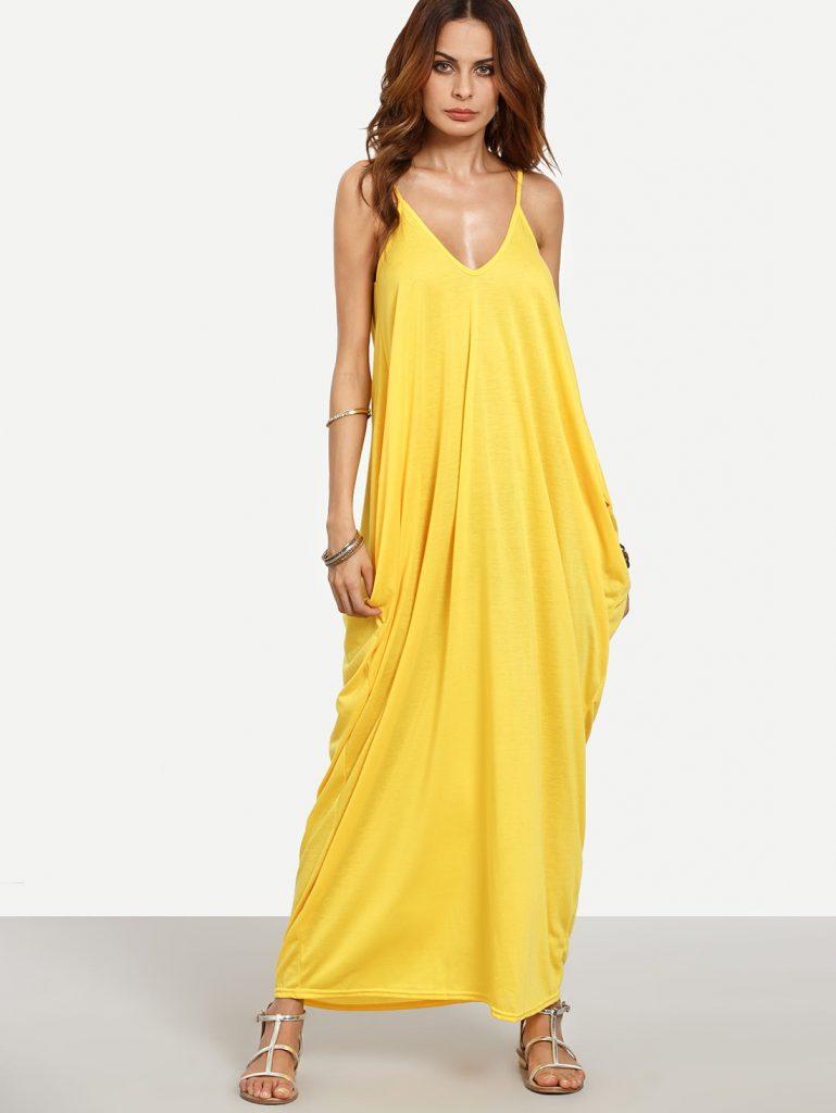 SheInV-neckline Plain Maxi Slip Dress