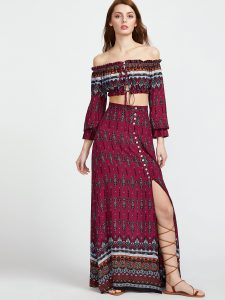 SheInVintagePrintDrawstringBardotTopWithSplit Skirt
