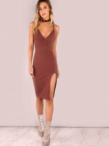 V Neck Bodycon Slit Dress