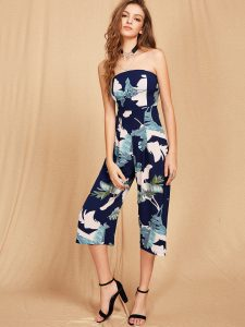 SheIn Bardot Tropical Print Backless Jumpsuit