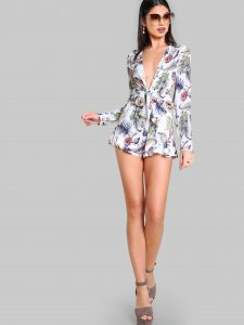 SheIn Tropical Print Plunging Knot Front Playsuit