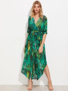 SheIn Allover Palm Leaf Print Curved Hem Shirt Dress