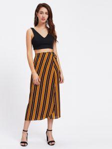 Vertical Striped Tie Detail Wrap Skirt