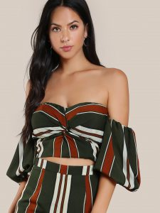 SheIn Front Twist Bardot Sleeve Crop Top in Dark Green