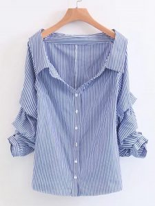 Romwe Boat Neckline Vertical Striped Blouse