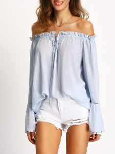 Romwe Light Blue Off The Shoulder Bell Sleeve Blouse