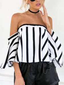 Romwe Off Shoulder Striped Zip Back Top