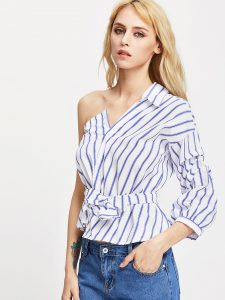 Romwe One Shoulder Self Tie Striped Blouse