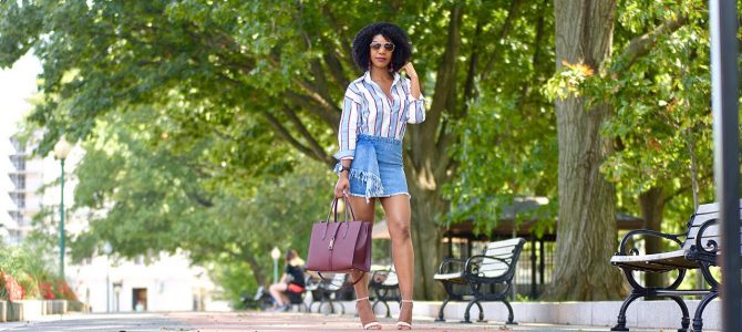 Summer Style: Striped Button Down Top + Frayed Denim Skirt + Embroidered Nude Heels