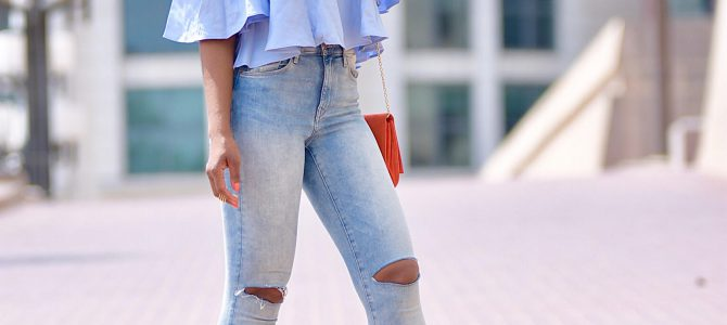Summer Style: Light Blue OTS Top + Light Blue Ripped Jeans