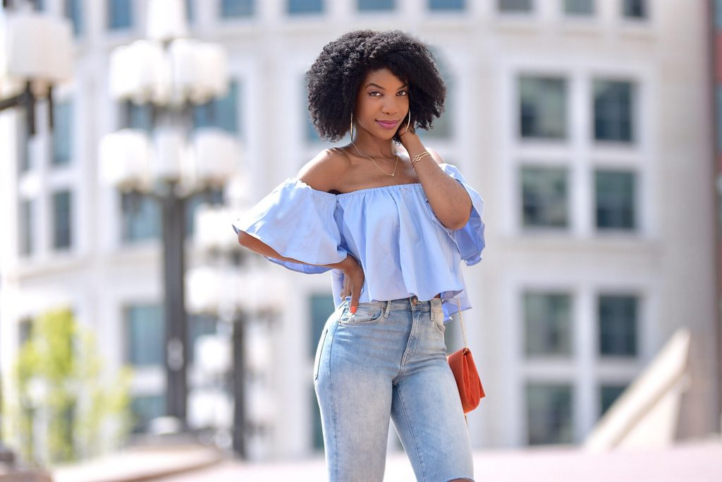 Romwe Blue Off The Shoulder Shirt, HM Distressed High Waisted Skinny Jeans, Amiclubwear Heels, Missguided Orange Clutch