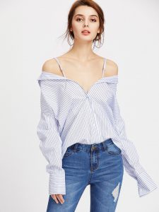 Romwe Vertical Striped Convertible Blouse