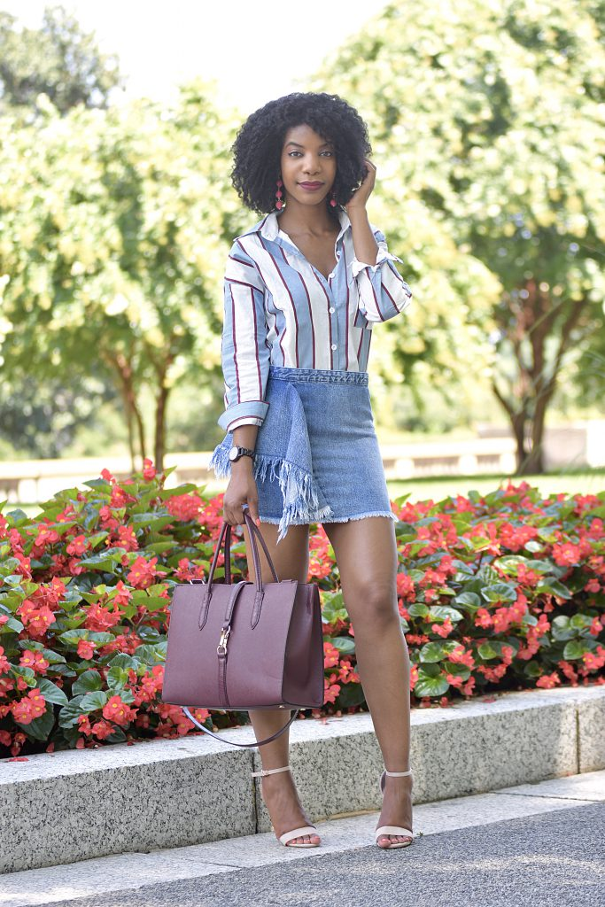 Romwe Blue Button Down Striped Shirt, Zara Frayed Denim Skirt , H&M Purse with Straps, Amiclubwear Heels, Jord Wood Watch