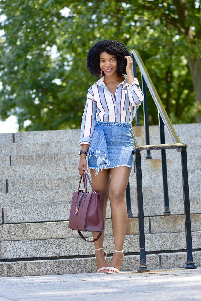 Romwe Blue Button Down Striped Shirt, Zara Frayed Denim Skirt , H&M Purse with Straps, Amiclubwear Heels, Jord Wood Watch