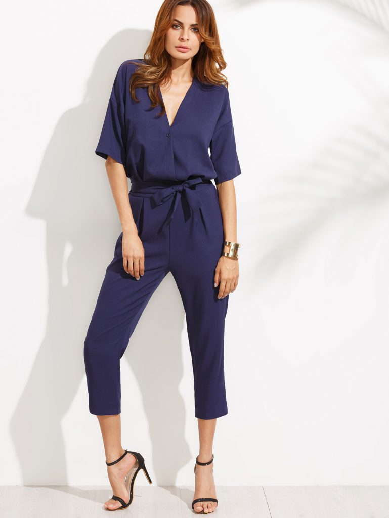 SheIn Dropped Shoulder Button Self Tie Jumpsuit