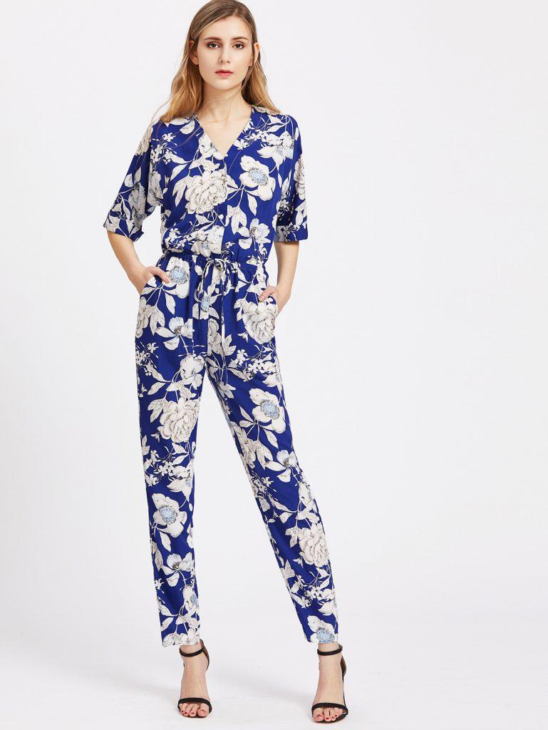 SheIn Floral V Neck Drawstring Shirtwaist Jumpsuit