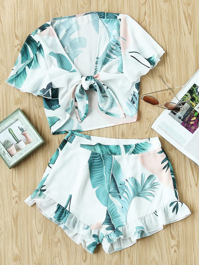 SheIn Front Blouse And Shorts Set