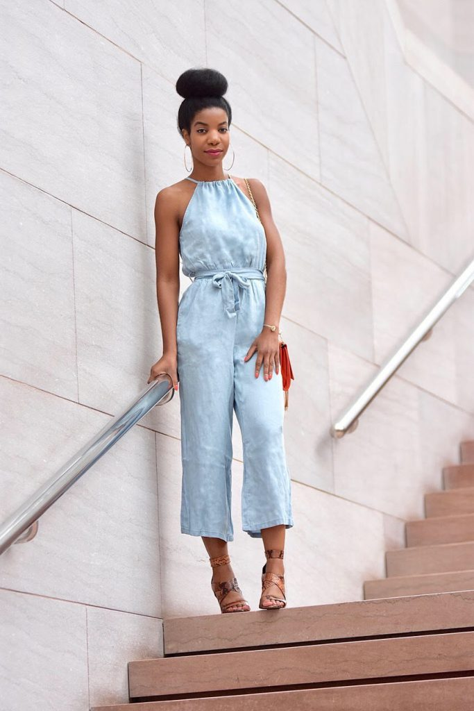 SheIn Self Tie Halter Split Back Chambray Culotte Jumpsuit, Orange Clutch with Gold Chain, Zara Orange Snakeskin Gladiator Sandals