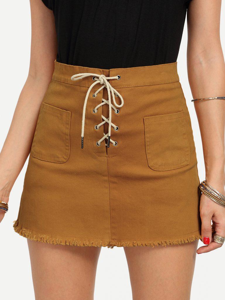 Romwe Lace-Up Fly Dual Pocket Raw Hem Skirt - Yellow