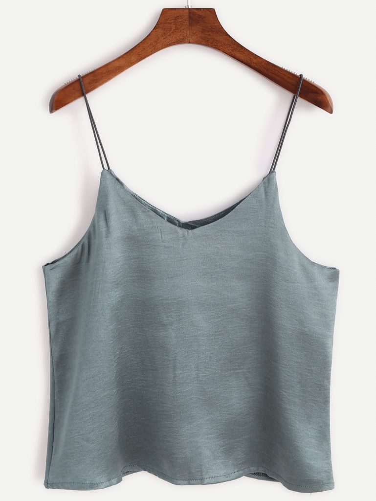 Romwe Grey Swing Satin Cami Top