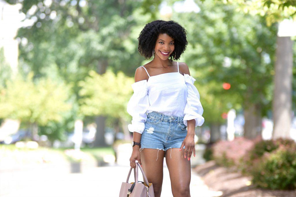 Bar III OTS Top, H&M Ripped Denim Shorts, Amiclubwear Olive Green Strappy Open Toe High Heels