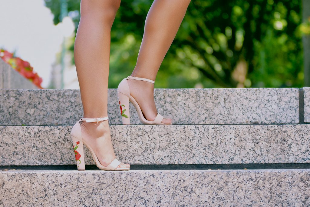 Amiclubwear Nude Embroidered Floral Chunky Single Sole High Heels Faux Suede