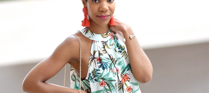 Summer/Vacation Style: SheIn Tropical Two Piece Set