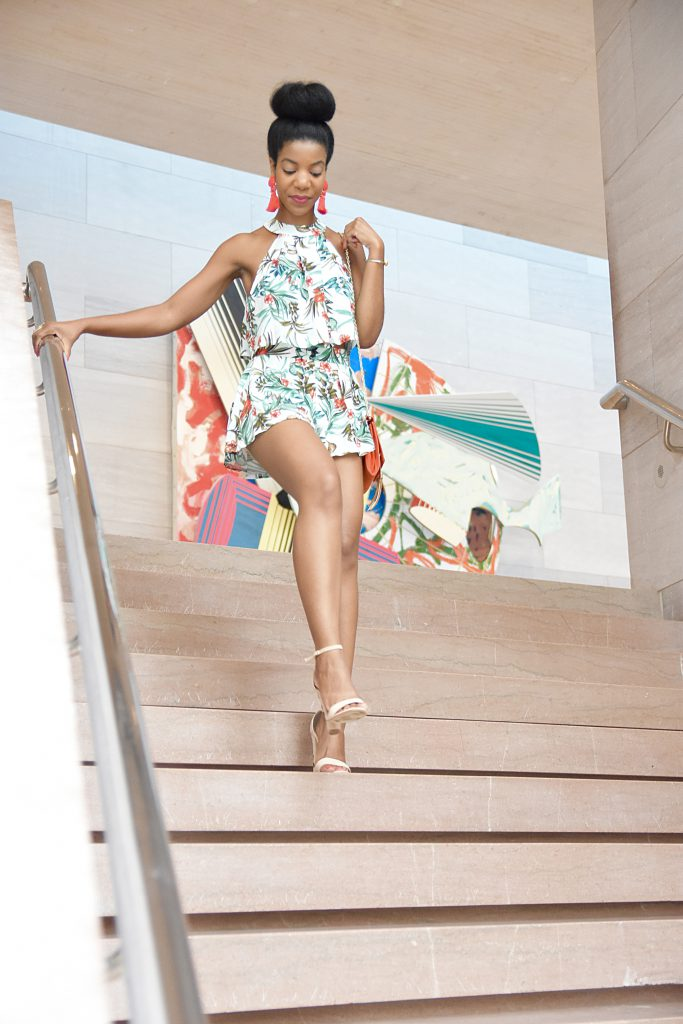 SheIn Self Tie Halter Floral Trapeze Top And Pleated Shorts, Amiclubwear Nude Embroidered Heels, Missguided Orange Chain Clutch