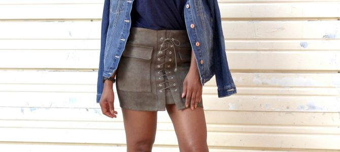 Fall Style: Distressed Denim Jacket + Romwe Wrap Cami + Romwe Lace Up Skirt