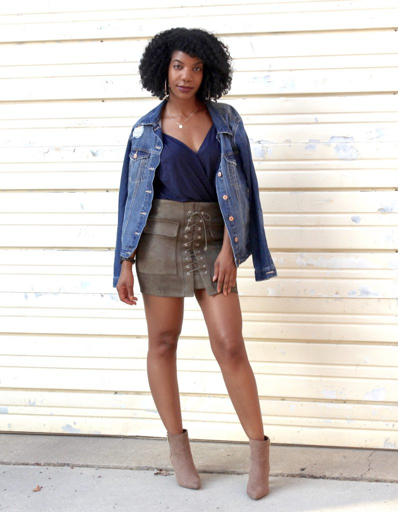 Blue Romwe Wrap Cami, Romwe Green Faux Suede Lace Up Skirt, Distressed Denim Jacket, Taupe Booties