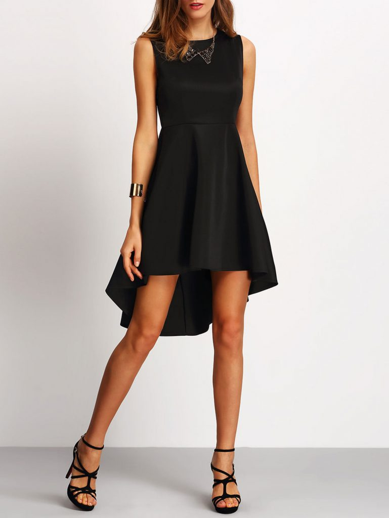 Romwe Black Sleeveless Asymmetrical Dress
