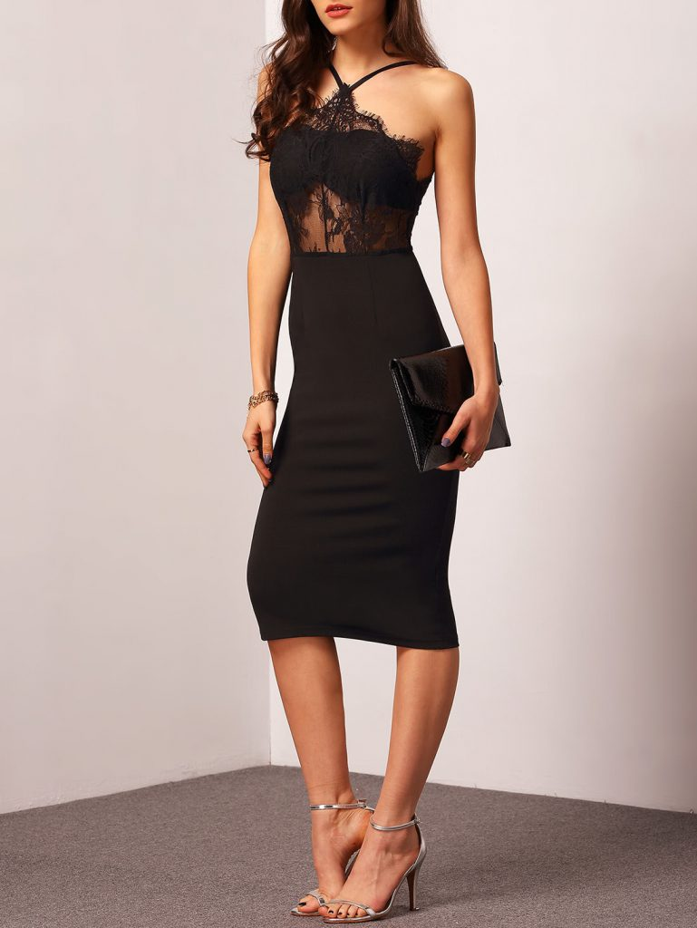 Romwe Black Halter With Lace Dress