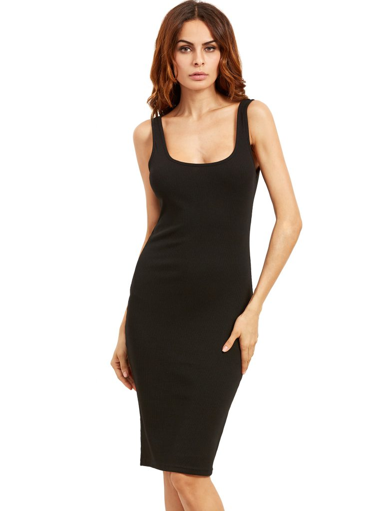 Romwe Black Sleeveless U Neck Bodycon Dress