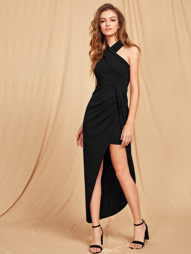 Romwe Criss Cross Halterneck Maxi Dress