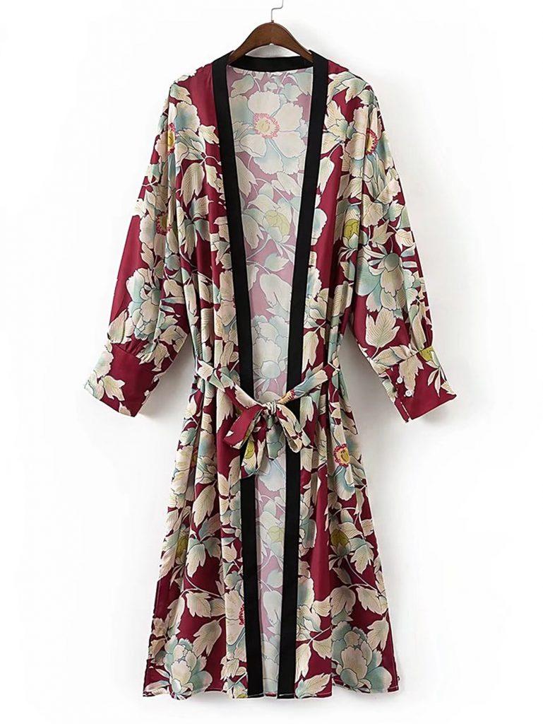 SheIn Floral Print Longline Kimono With Self Tie