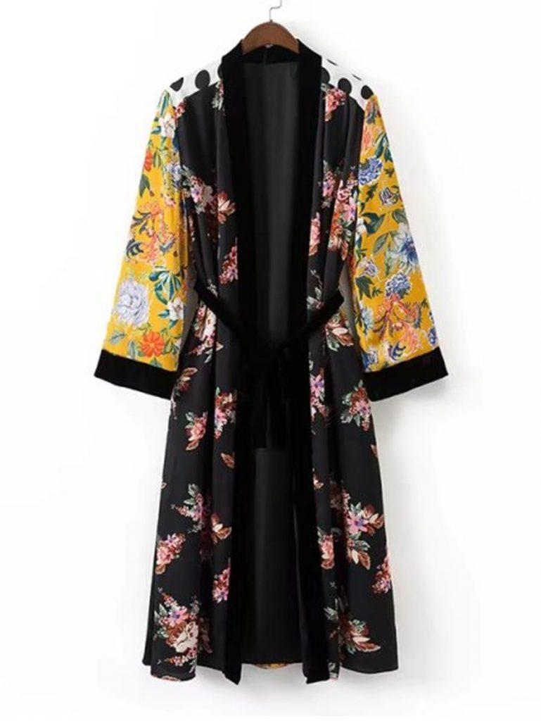 SheIn Calico Print Self Tie Longline Kimono