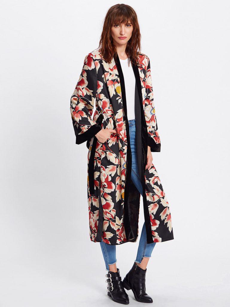 SheIn Leather Print Tie Waist Kimono