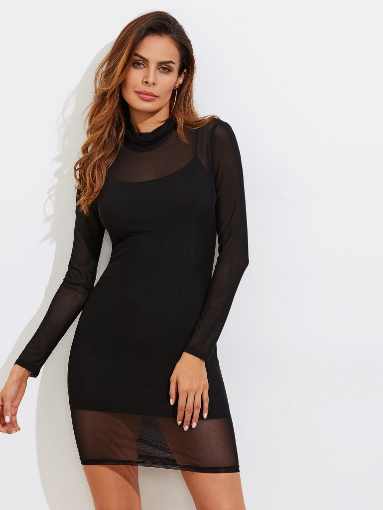 Romwe Sheer Mesh Bodycon Dress With Rib Cami Dress