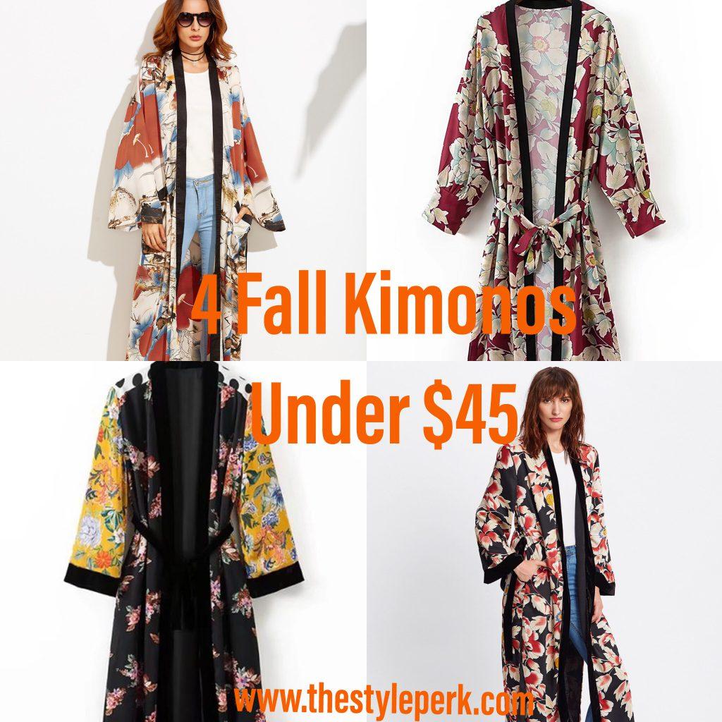 SheIn Calico Print Contrast Trim Belted Maxi Kimono