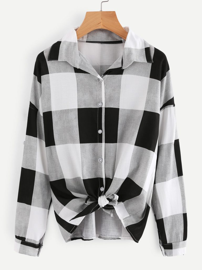 Romwe Checked Knot Shirt