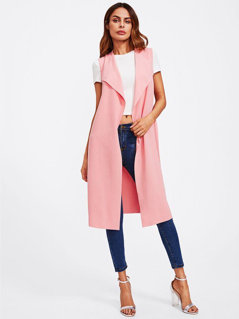 SheIn Pink Bow Tie Waist Longline Belted Vest