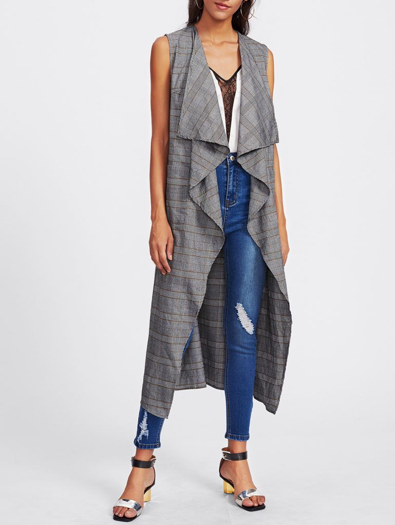 SheIn Patch Pocket Front Plaid Waterfall Vest