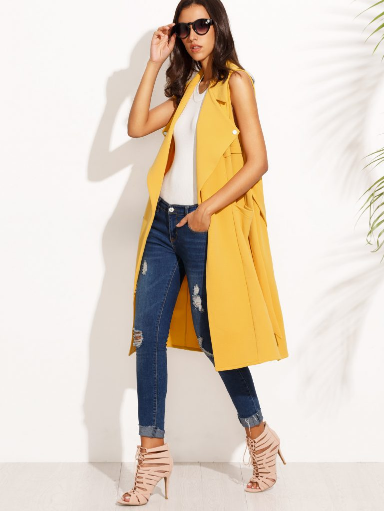 SheInYellow Sleeveless Lapel Tie Waist Long Outerwear