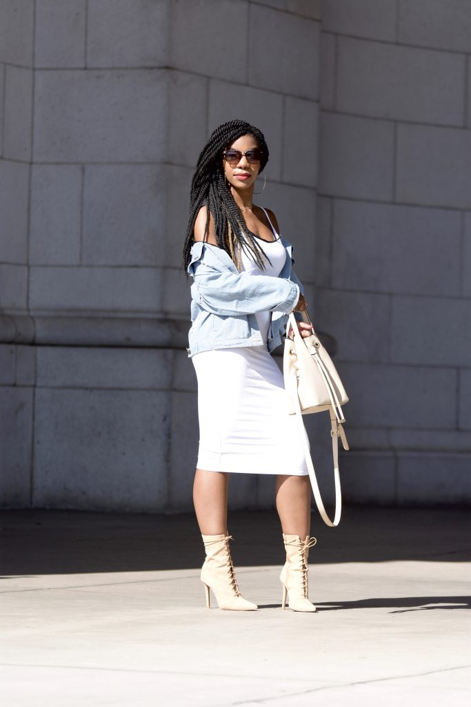 Romwe Buttoned Front Ripped Light Blue Denim Outerwear, Distressed Denim Boyfriend Jacket, White Midi Dress, GoJane Tan Lace Up Booties